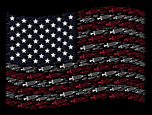 American flag made with syringes, symbolizing Fentanyl dangers in America